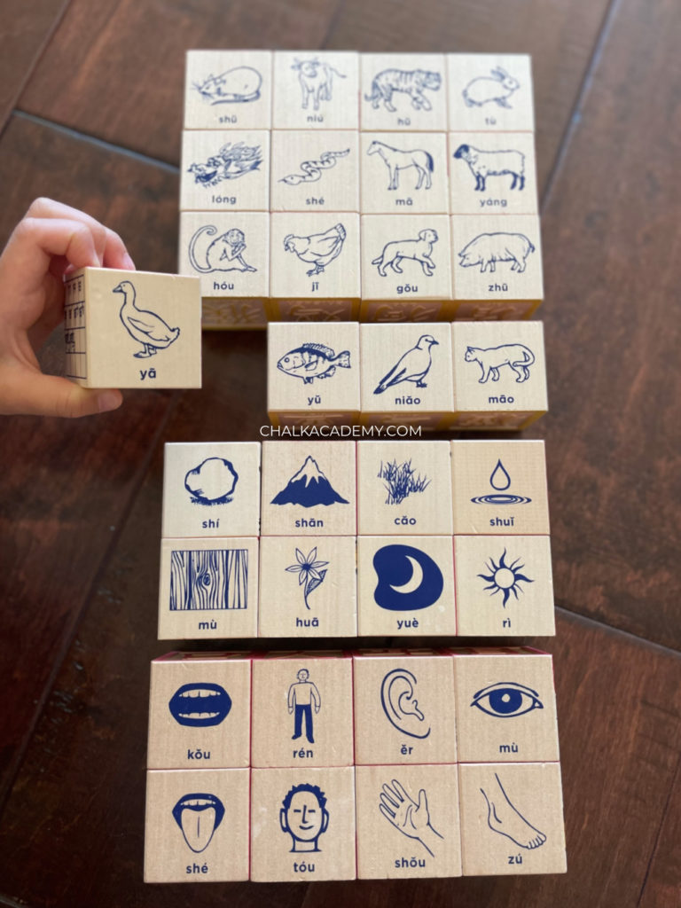 Uncle Goose wood block toys with realistic Montessori inspired drawings and Hanyu Pinyin for kids