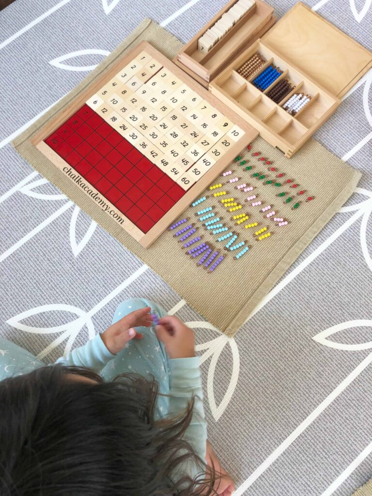 Montessori Pythogoras board and decanomial beads
