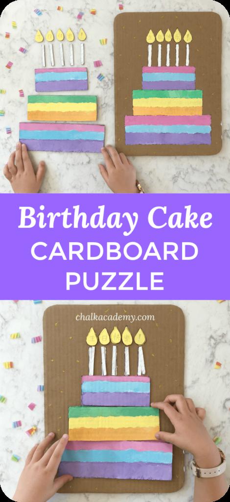 Cardboard birthday cake puzzle craft for kids