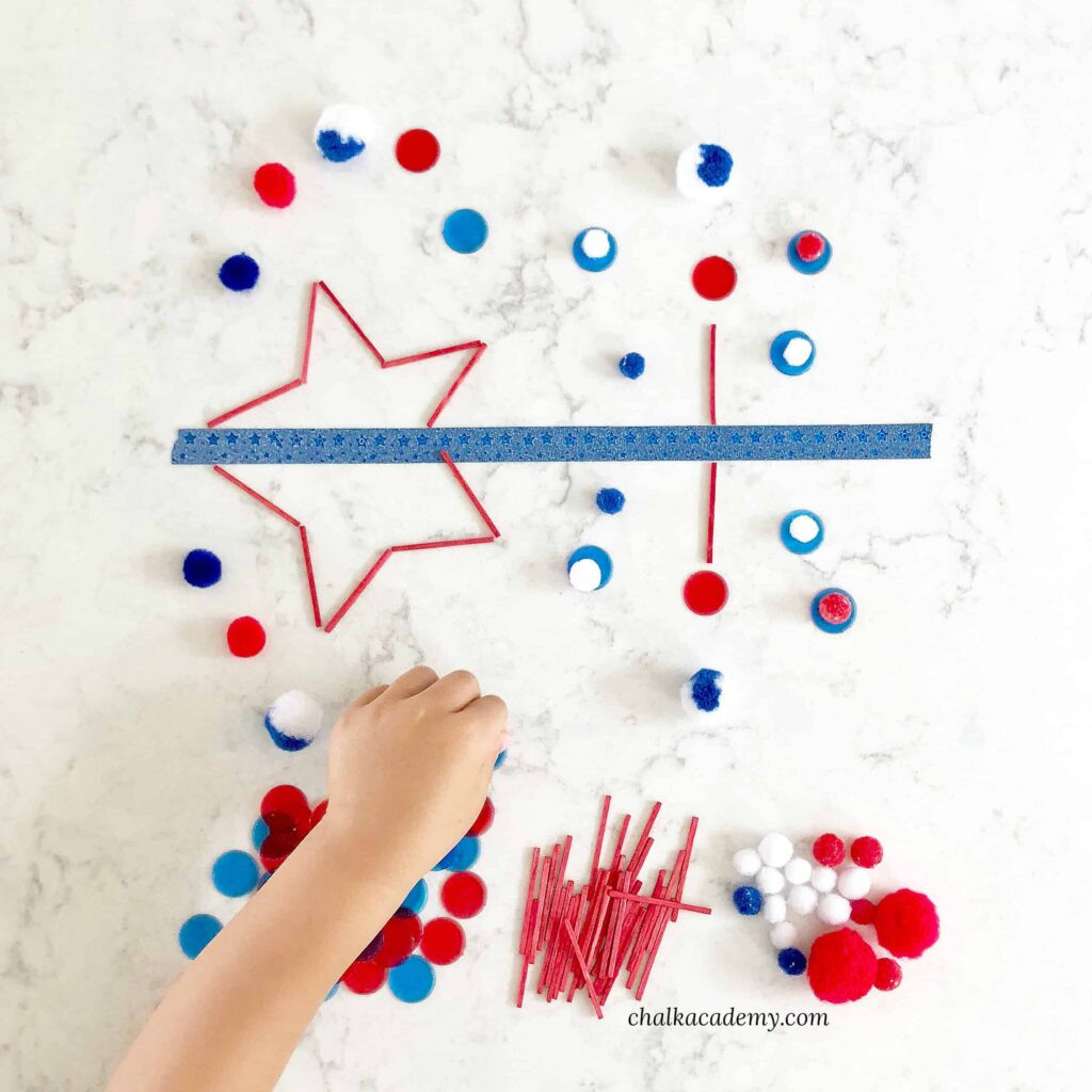 Symmetry activity for kids - fourth of July (Independence Day) theme