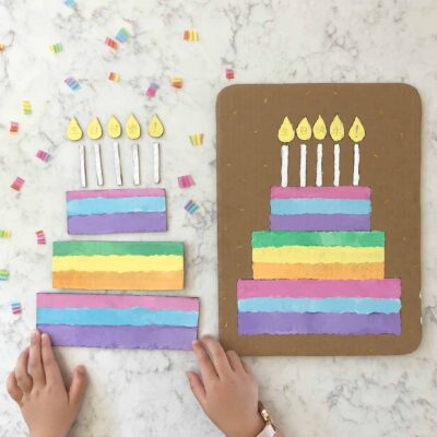 Cardboard Birthday Cake Puzzle Craft + Happy Birthday Lyrics in Chinese & English!