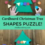 Cardboard Christmas Tree Shapes Puzzle - Recycled Holiday Craft for Kids!