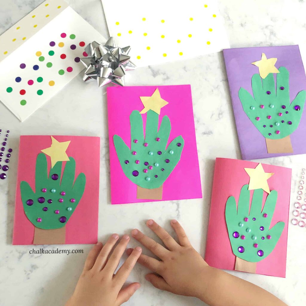 Handprint Christmas Tree Cards - Cute Craft to Gift!