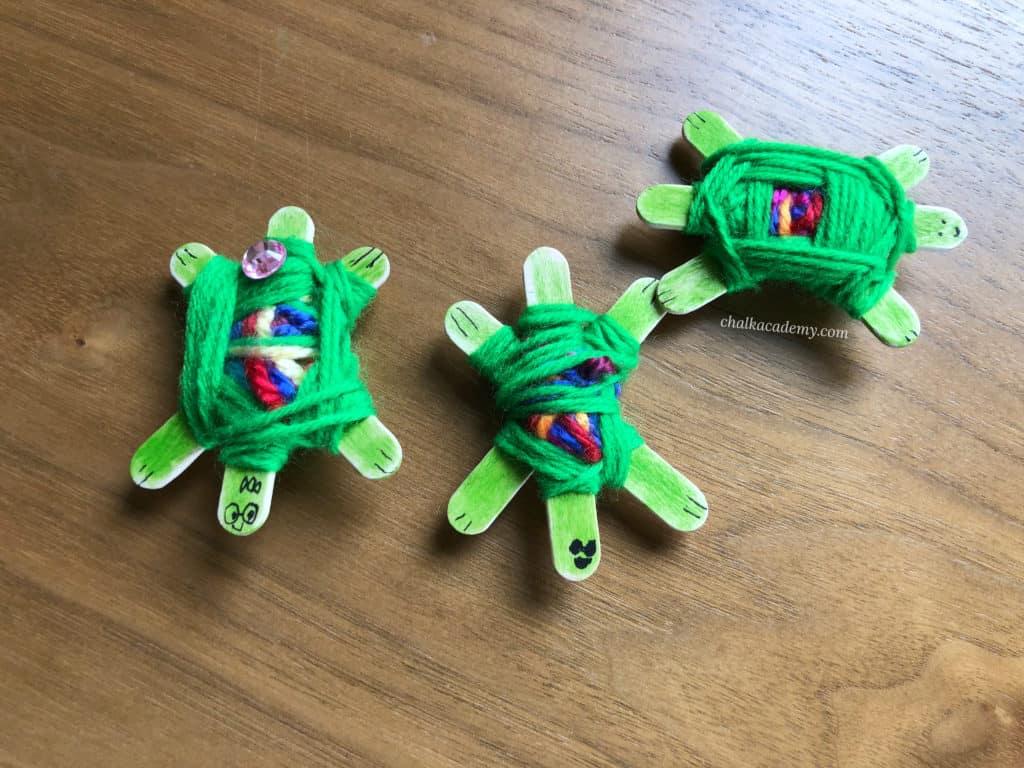 Craft stick turtle Yarn Weaving God's Eye Craft