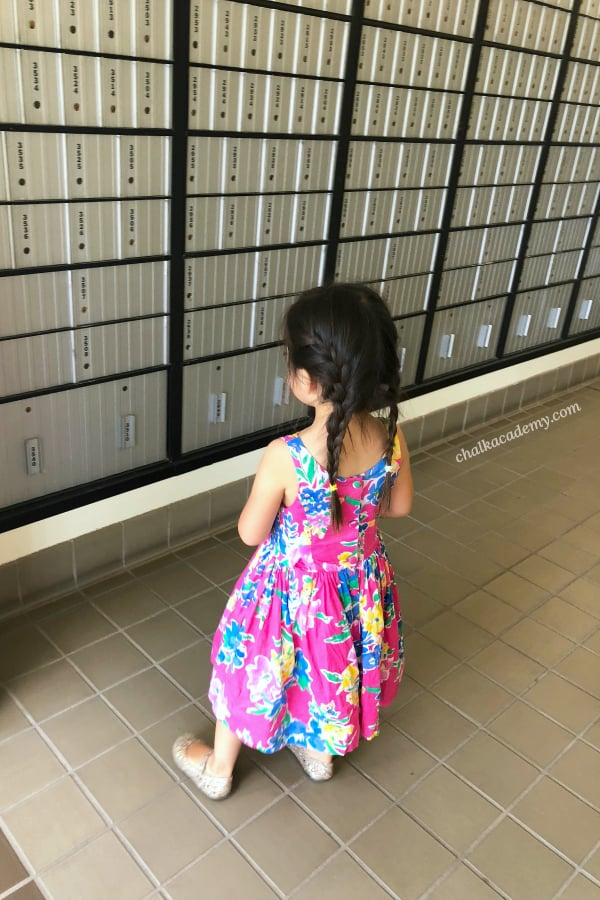 Counting practice at the post office - Math is all around us, and children are born with the desire to learn. Before I made any printables and collected educational toys, we established math foundations from routine, everyday experiences. My oldest child has learned everything from counting to multiplication through the simple, free ways detailed in this post. #math #preschool #kindergarten #firstgrade #homeschool