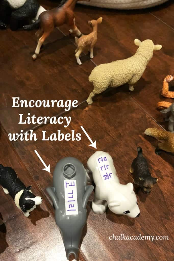 Encourage Korean literacy with labels around the house