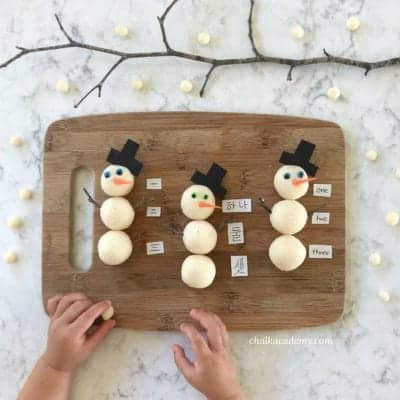 Playdough Snowman: Counting & Math Activity for Winter!