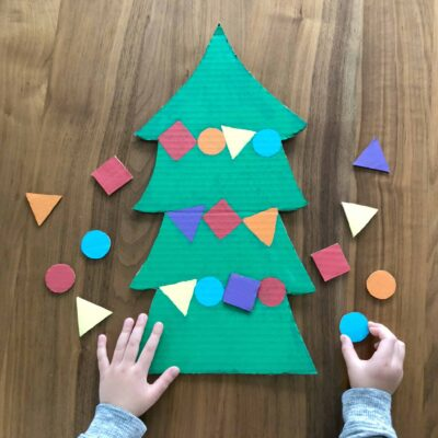 Cardboard Christmas Tree Shapes Puzzle for Toddlers!