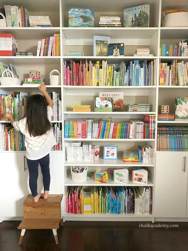 Trilingual Bookshelf (English, Chinese, Korean), rainbow shelfie for kids!