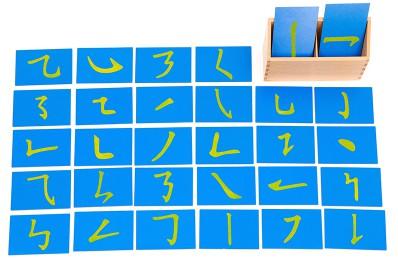 Chinese radicals sandpaper cards Montessori Sandpaper strokes (中文筆順砂字板)