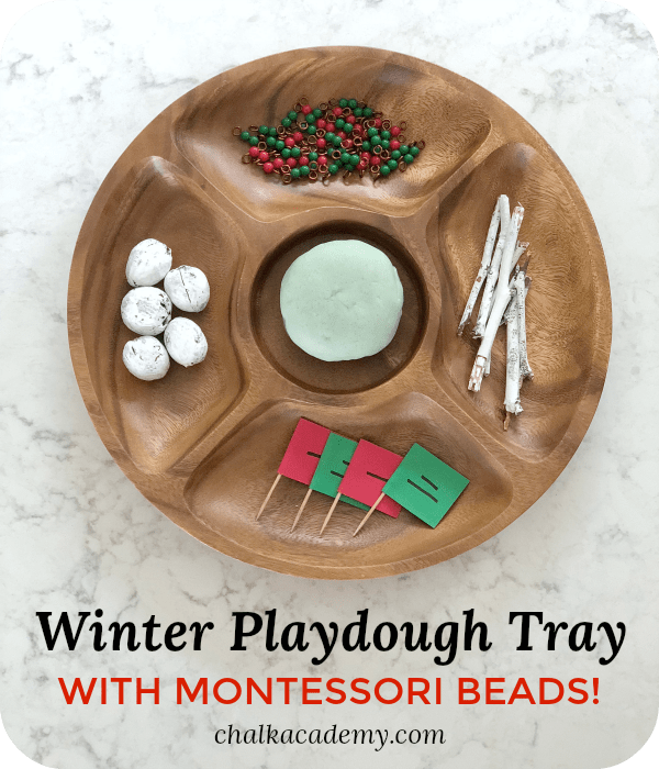 Winter Playdough Small World Tray with Sight Word Toothpick Flags!