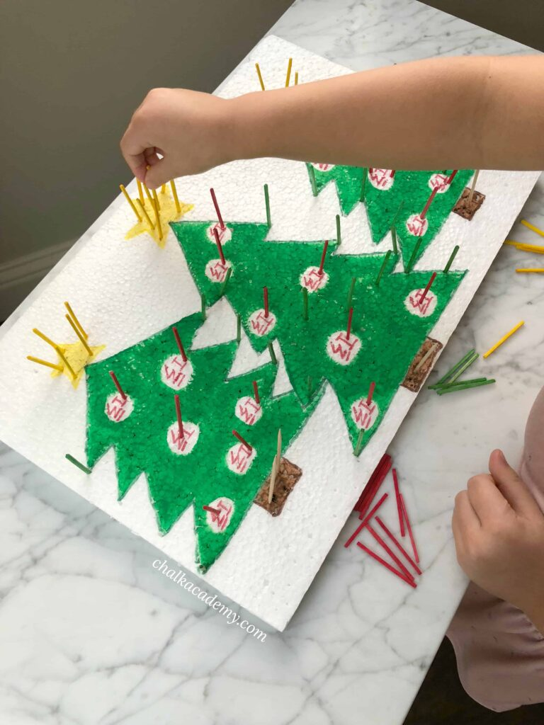 Christmas Tree Polystyrene Poke - Learn Shapes, Words, and More!