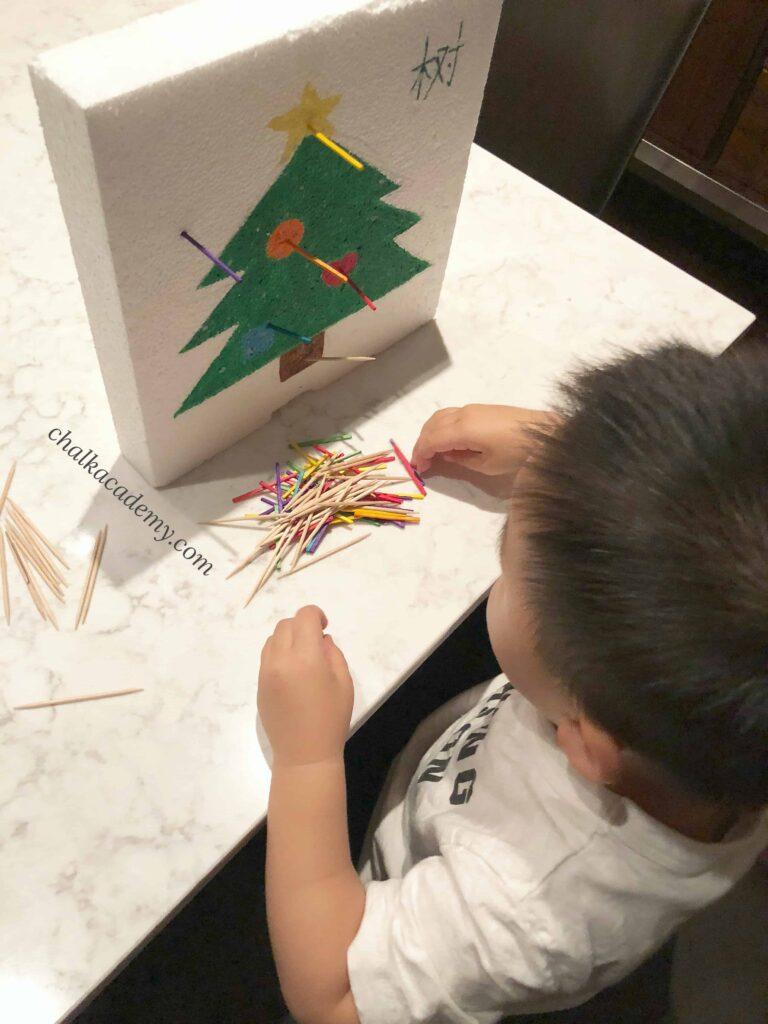 Christmas Tree Polystyrene Poke - Learn Shapes, Words, and Fine Motor Skills!