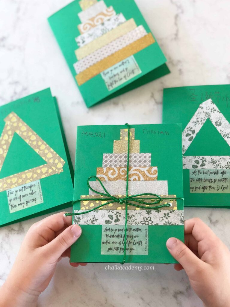 DIY Washi Tape Christmas Cards - Easy handmade holiday gift ideas for kids