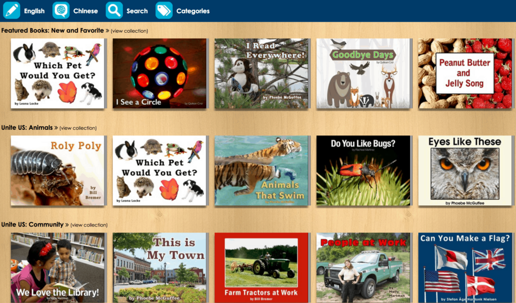 Unite for Literacy Websites and Apps with FREE Multilingual Books for Kids, free Chinese books for kids