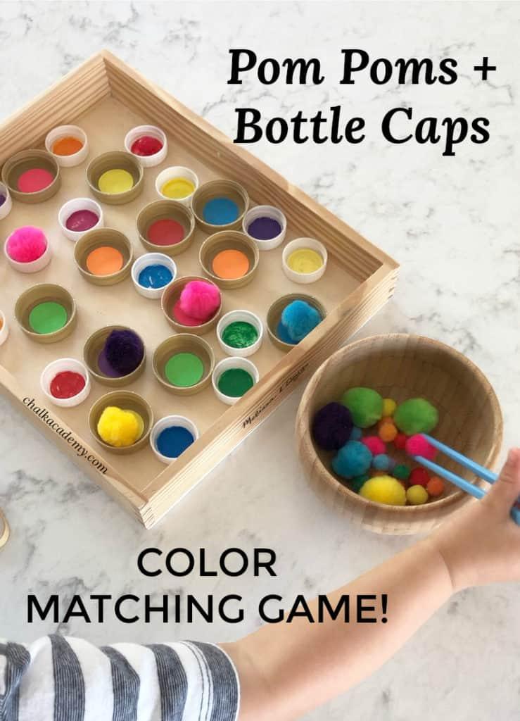 Bottle Caps Pom Poms color matching with chopsticks