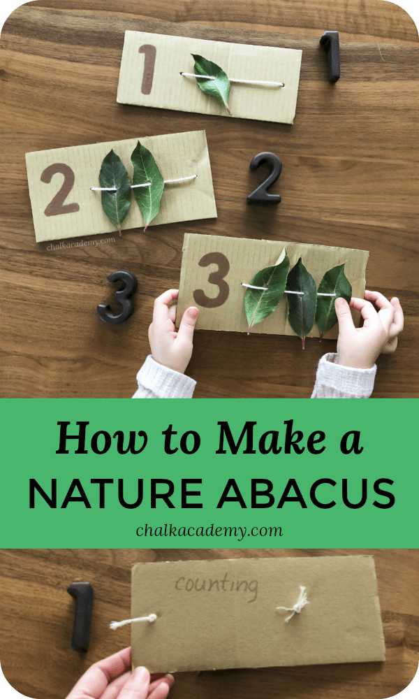 How to make a nature abacus with leaves and cardboard