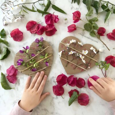 Cardboard Valentine's Day Cards – A Nature Weaving Activity for Kids!