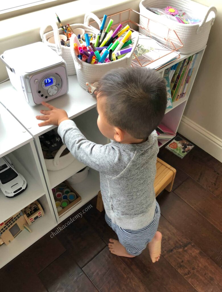 23-month-old using CD player independently - Montessori inspired home