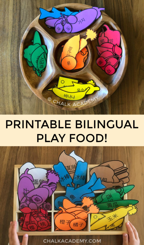 Printable bilingual play food! Chinese, Korean, English learning toys for kids