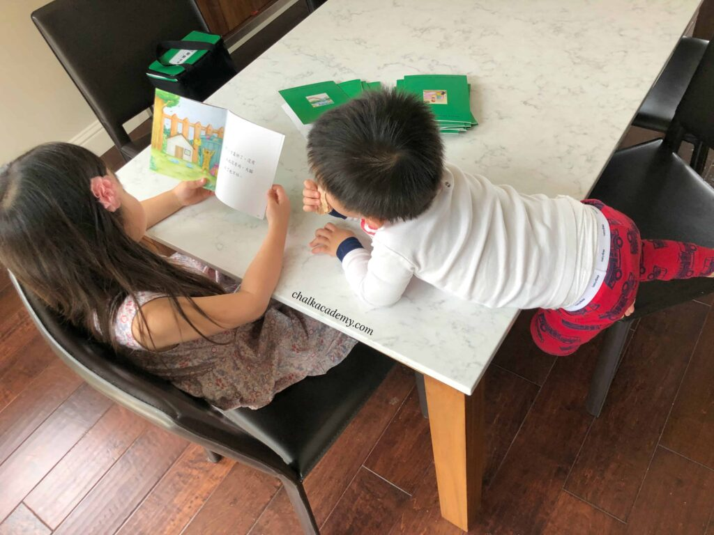My children reading the 樂樂文化 Le Le Chinese Green Books
