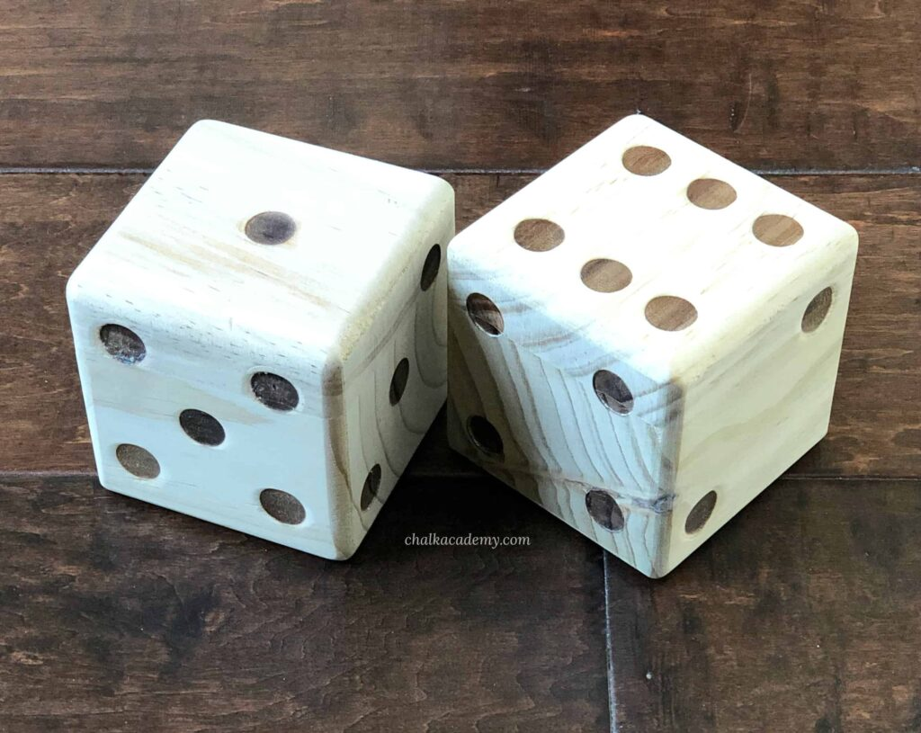 Large wood dice for playing, learning, and math games