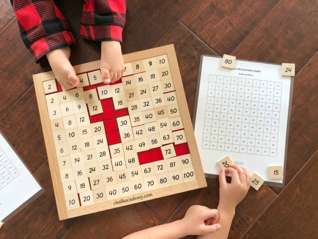 Hundred Chart and Montessori Pythagoras Board