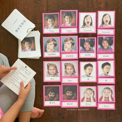Emotions Book and Montessori 3-part cards in English, Chinese, and Korean