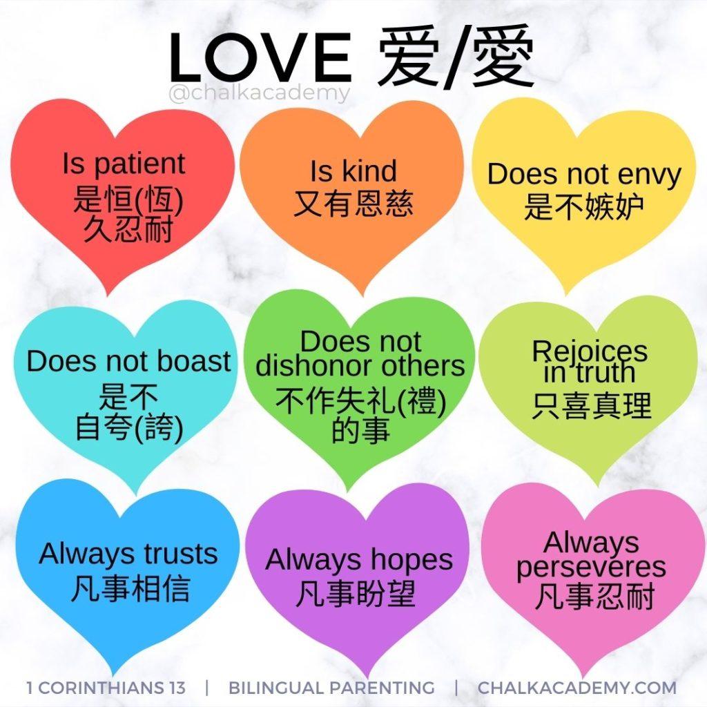 1 Corinthians 13 Bible verse about love English, Chinese, Korean
