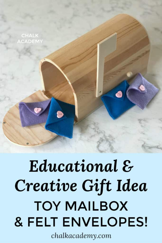 Educational gift idea for creative children: toy mailbox and felt envelopes