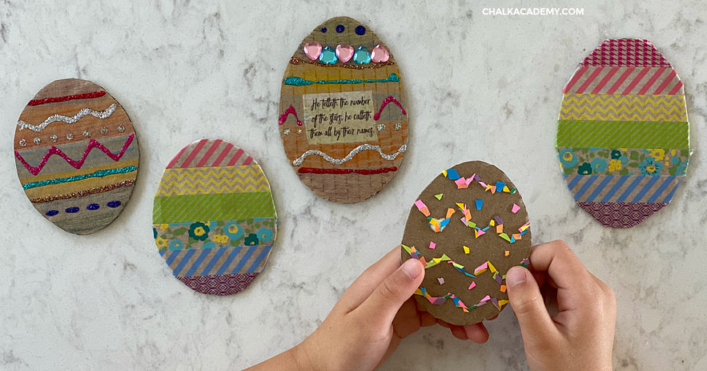 Cardboard Easter craft - recycled art for kids