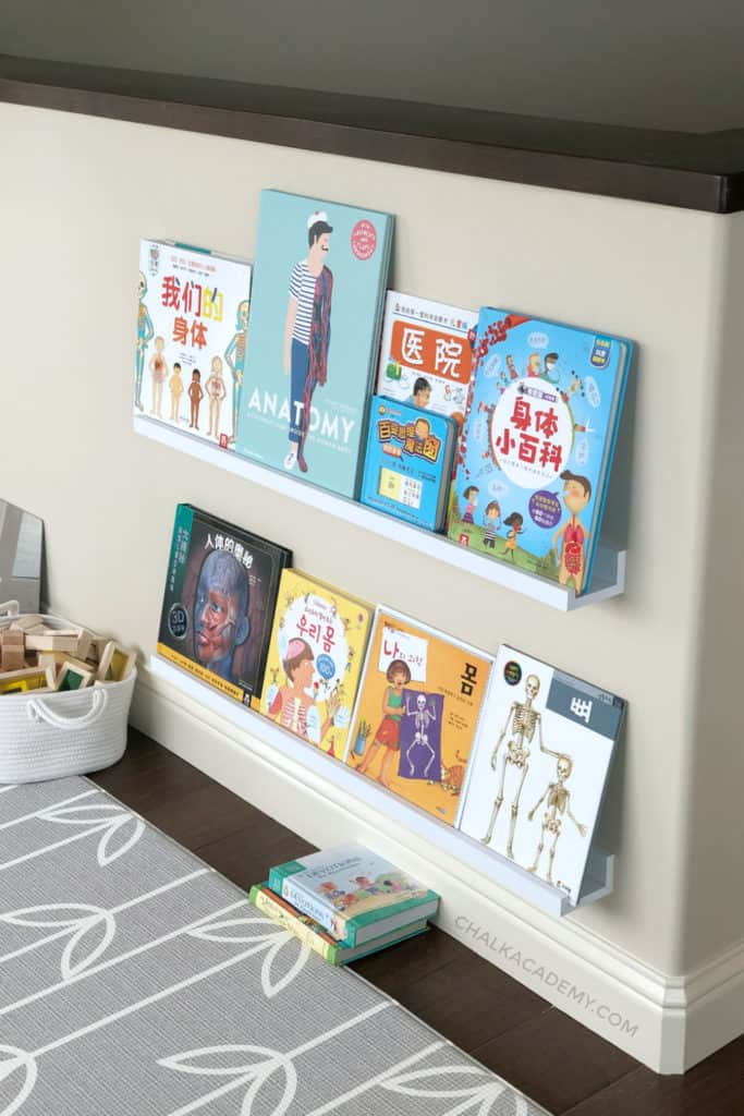 Chinese & Korean human body books on wall mounted shelves