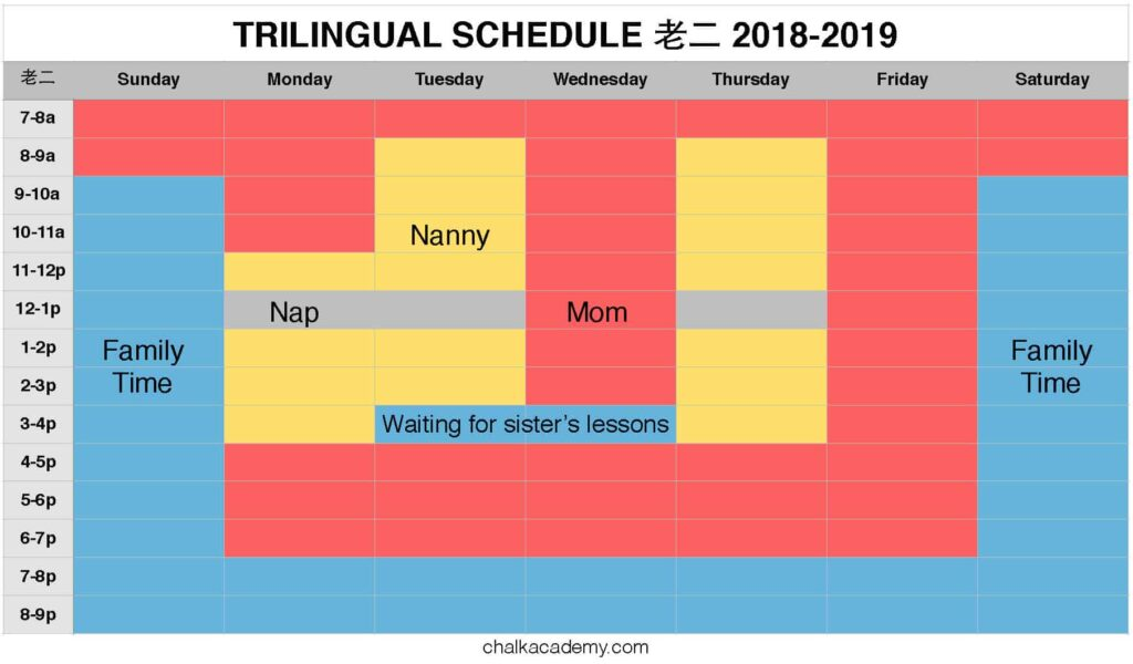 Trilingual schedule 2 year old