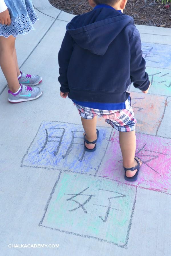Sidewalk chalk activities: Hanzi Chinese Hopscotch
