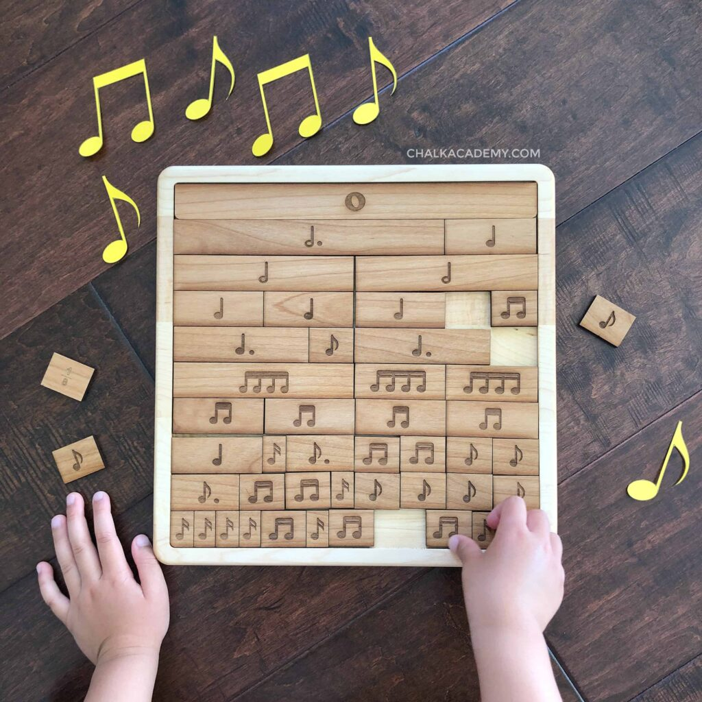 Wooden music notes fraction puzzle