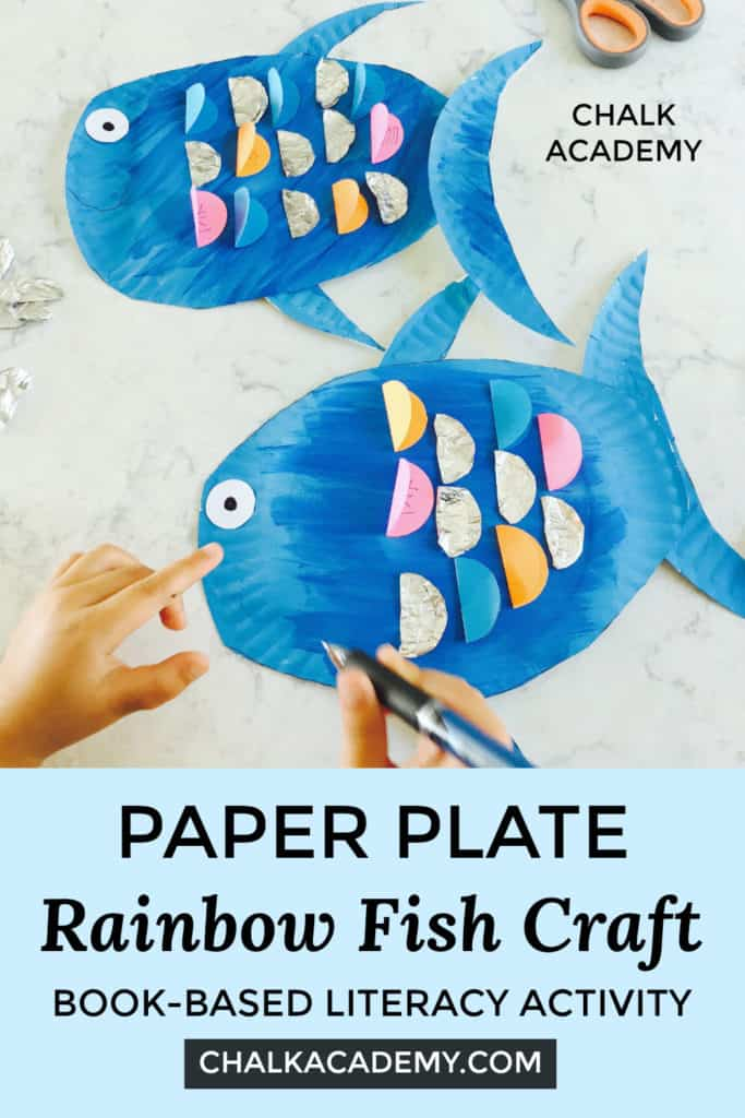 Paper plate rainbow fish craft book-based literacy activity for kids