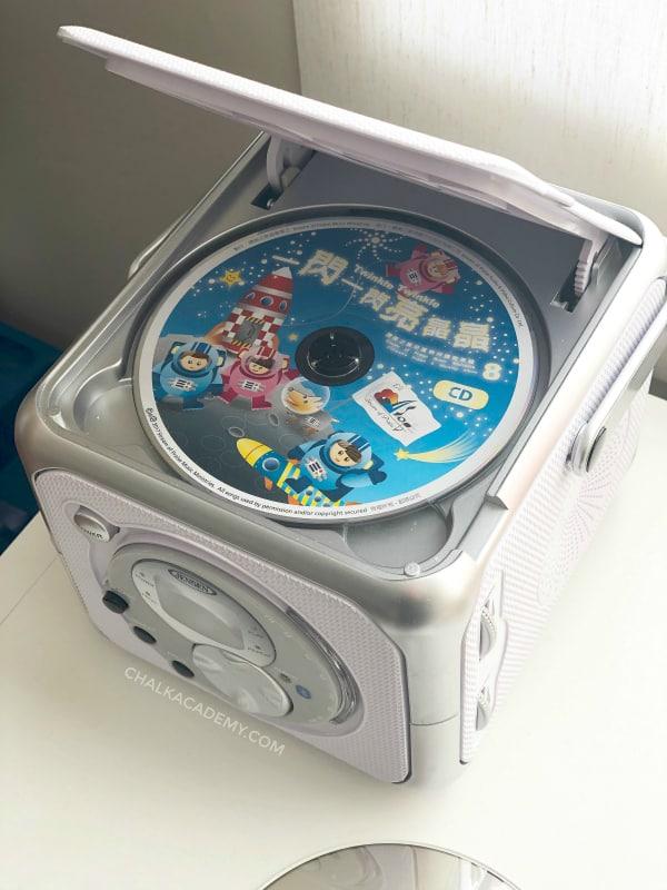 Chinese children's music CD in Jensen CD player
