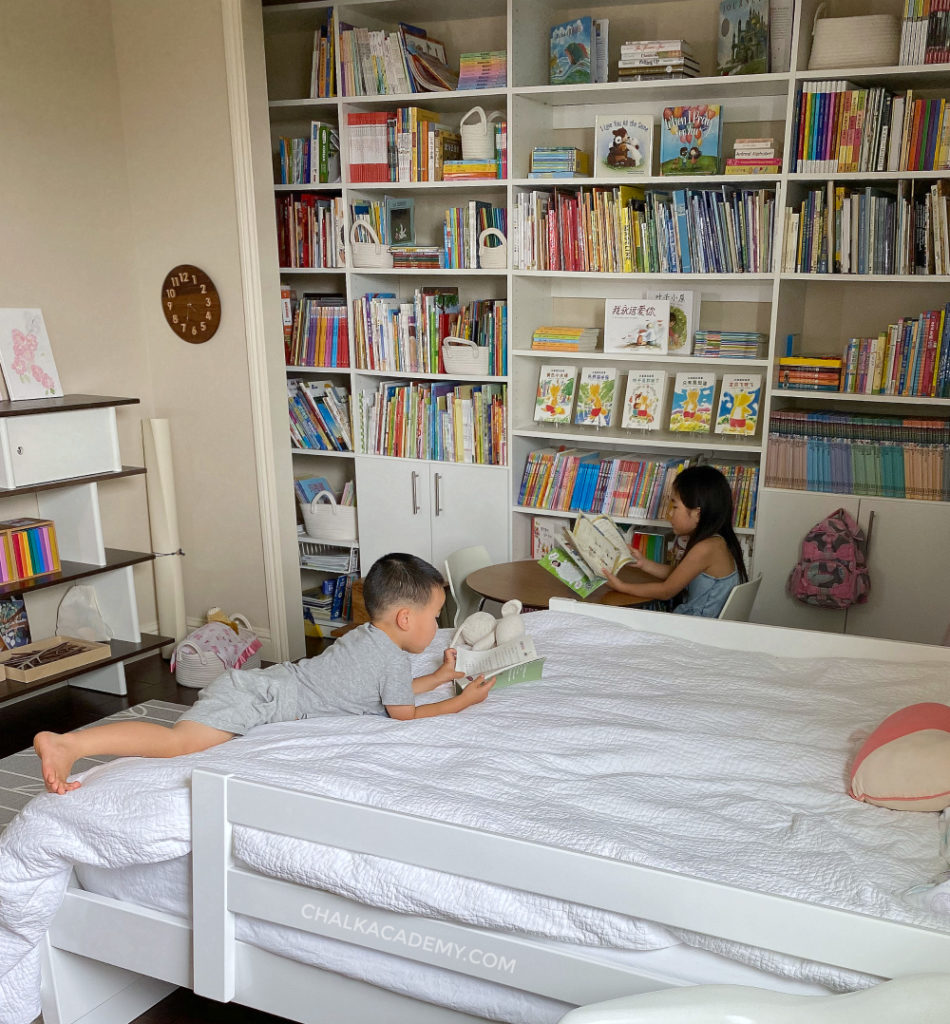Daughter's bedroom library - encourage kids to read throughout the day by surrounding them with books
