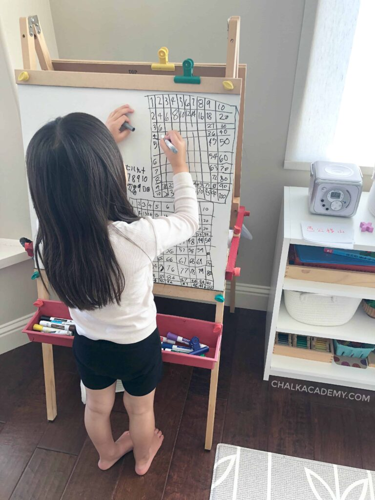 Daughter drawing the hundred chart and multiplication table while speaking in Chinese