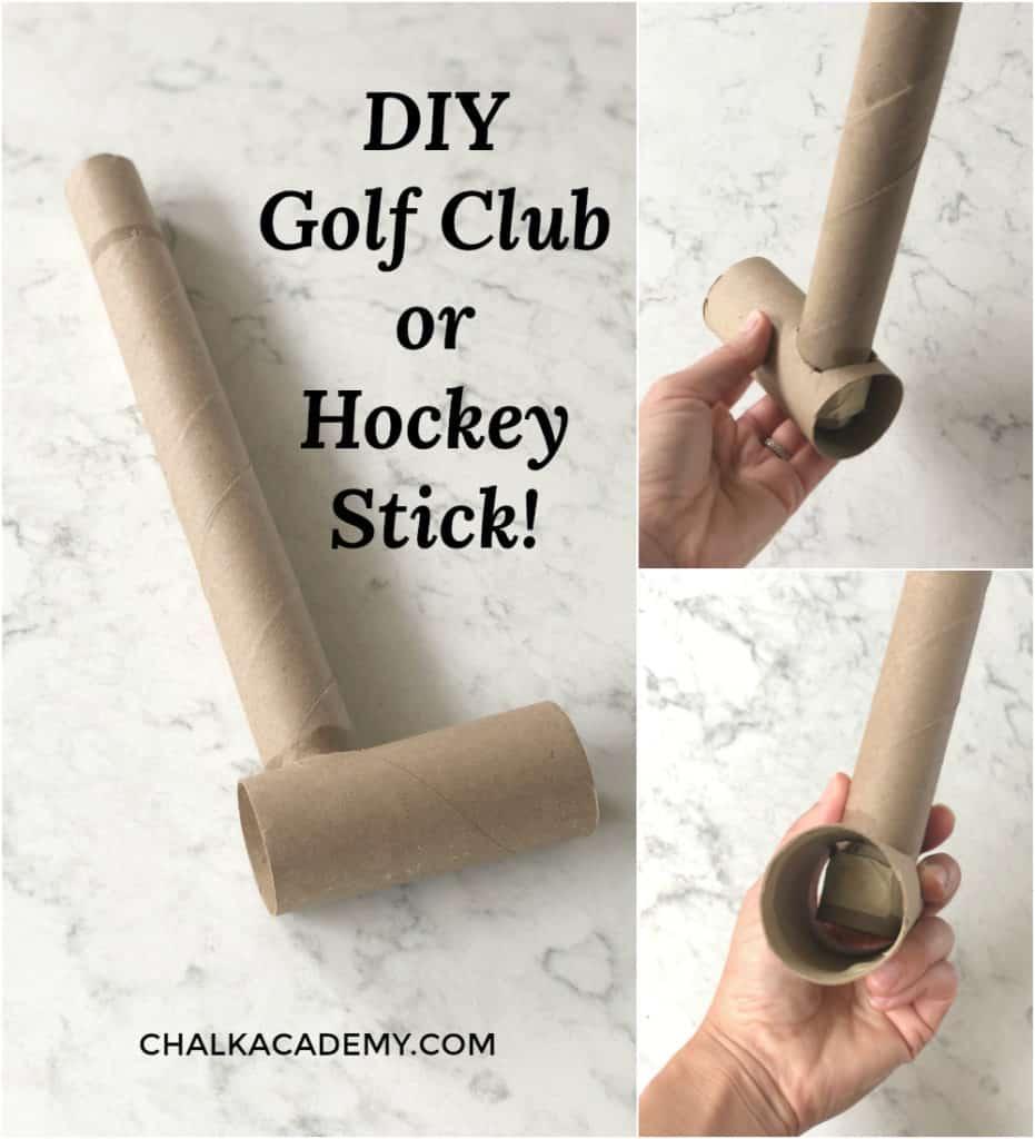 DIY Golf Club or Hockey Stick with cardboard paper rolls