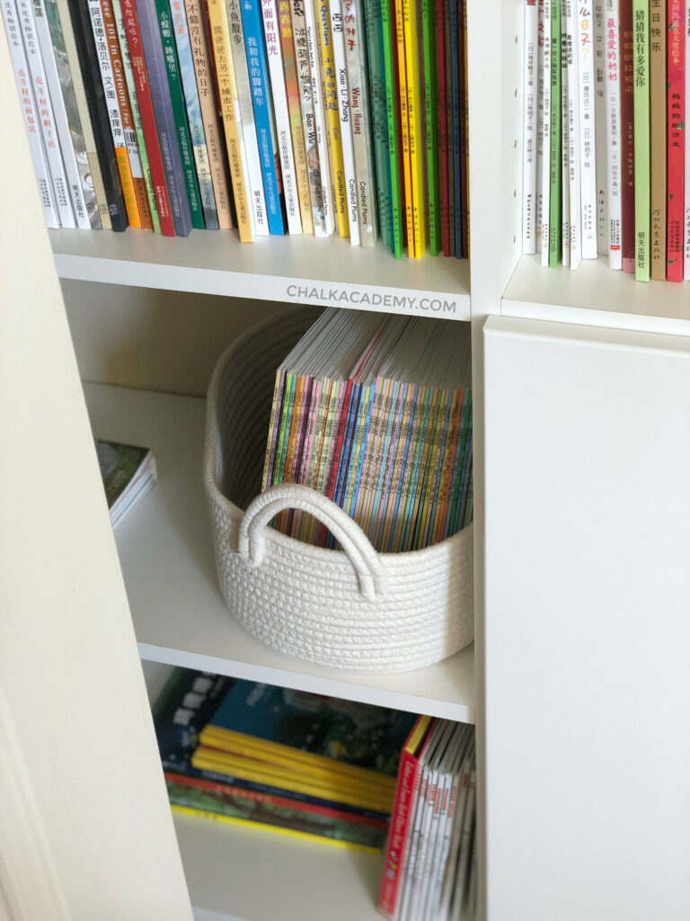 White rope basket contains 60 Chinese books
