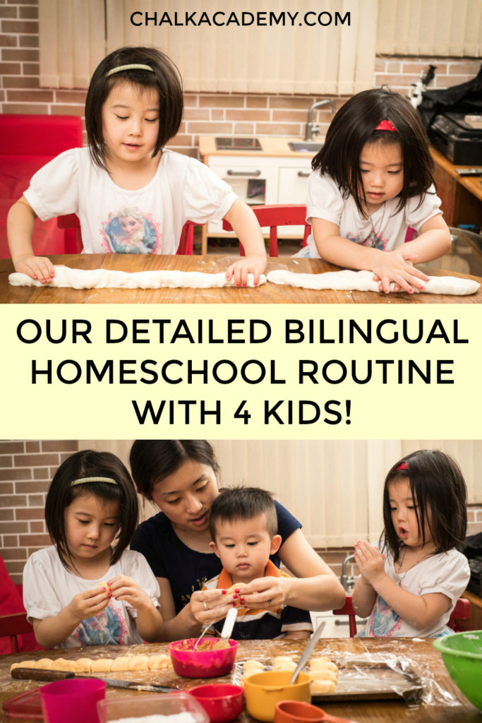 Our detailed bilingual homeschool routine with kids learning Chinese (Cantonese) and English