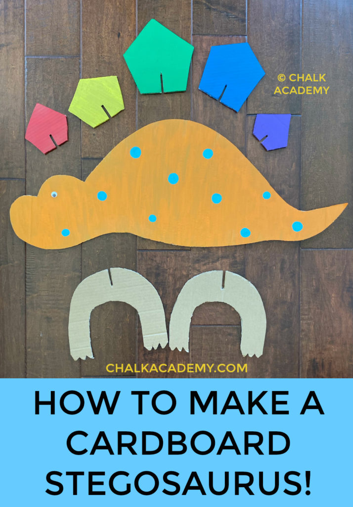 How to make a cardboard stegosaurus dinosaur; DIY recycled craft for kids