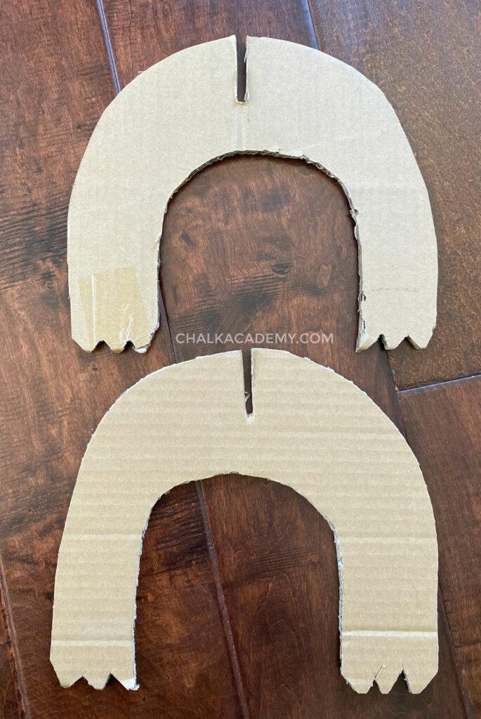 cardboard dinosaur legs