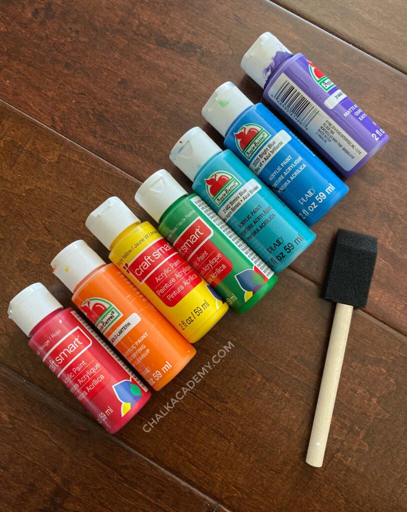 Colorful acrylic paints and sponge paintbrush