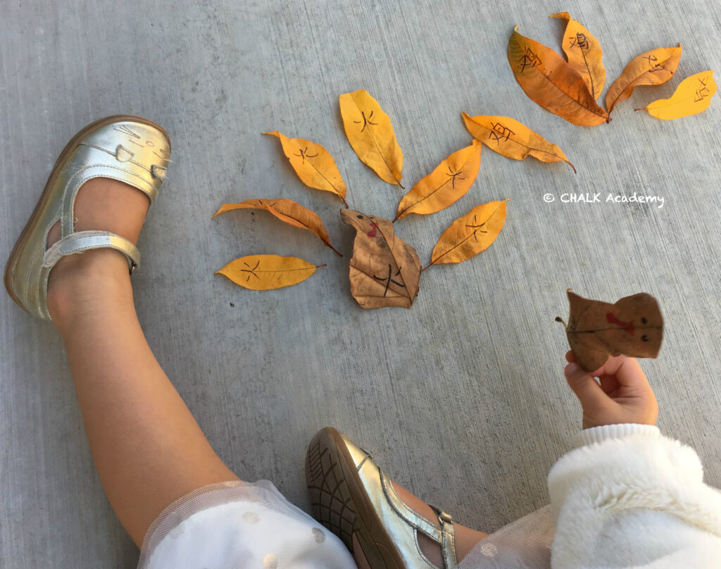 Chinese word matching - make a turkey with leaves!