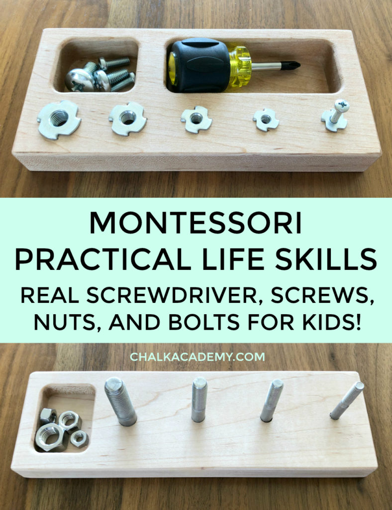 Montessori practical life skills: real screwdriver, screws, nuts, bolts toy for kids who love playing with tools!