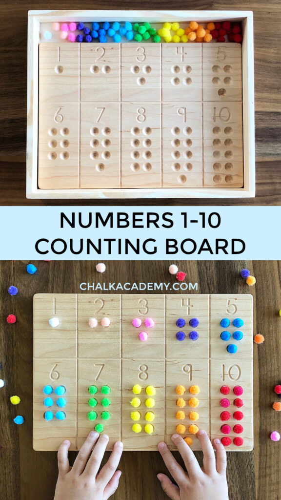 Numbers 1-10 Wood Counting Board with pom poms (colorful cotton balls)