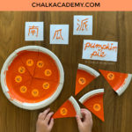 Paper plate pumpkin pie puzzle word matching activity