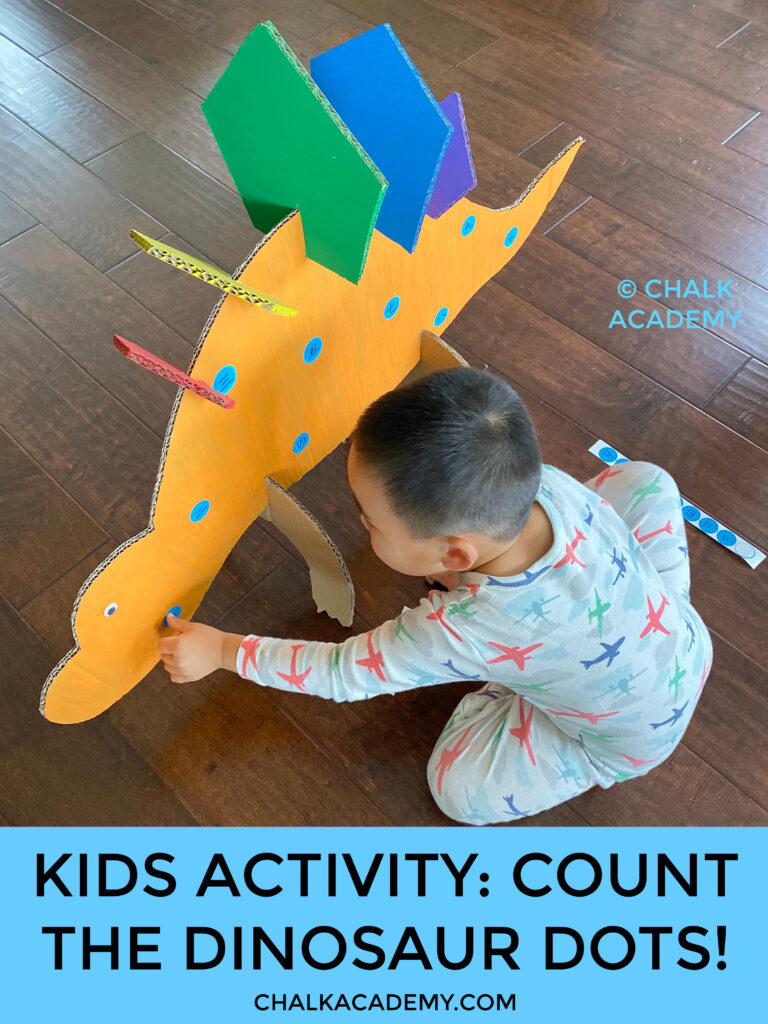 Kids activity: count the cardboard dinosaur dots!